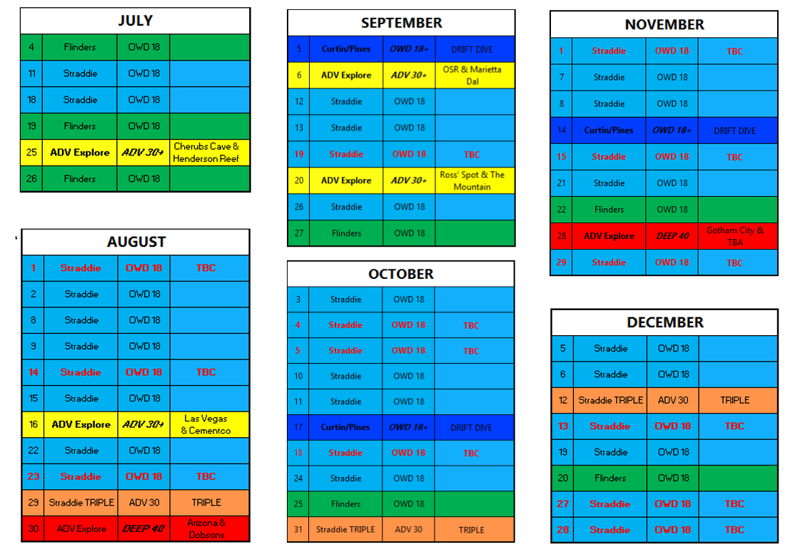 Calendar July to December Dive Dates 2020