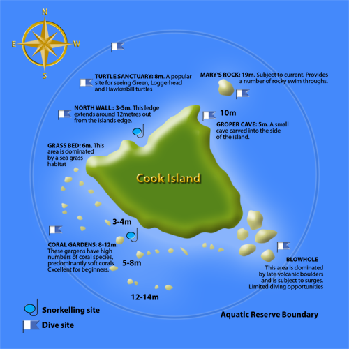 Cook Island dive map